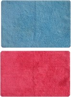 Status Cotton Medium Door Mat Cotton_red_skyblue_2pcs (Red, 2 Mat)