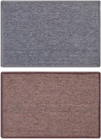 Status Nylon Medium Door Mat Solid_grey_darkbrown_2pcs (Grey, 2 Mat)