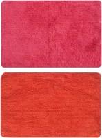 Status Cotton Medium Floor Mat Cotton_red_orange_2pcs (Red, 2 Mat)