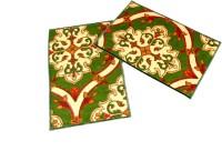 Ritika Carpets Velvet Medium Door Mat Door Mat Set Of 2 Green, 2 Mat