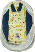 Stuff Jam Advance Baby Animal Print Mattress With Mosquito Net & Pillow (Yellow)