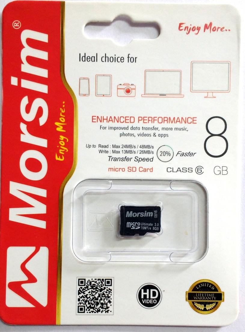 Morsim 8 GB MicroSD Card Class 6 48 MBs  Memory Card