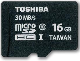 Toshiba 16GB MicroSDHC Class10 (30MB/s) Memory Card