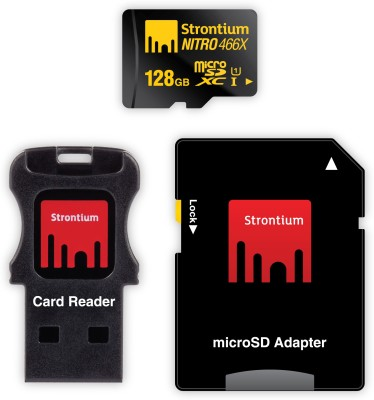 Strontium Nitro 466x 128GB MicroSDXC Class 10 (70MB/s) UHS-1 Memory Card (With USB Card Reader & SD Card Reader)