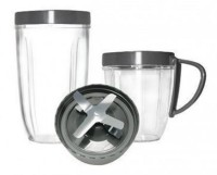 NutriBullet Cup And Blade Replacement Set 600 W Mixer Grinder (Grey, 2 Jars)