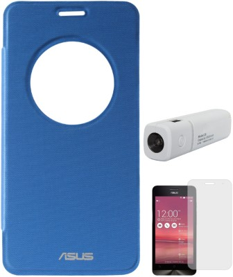 DMG Circle Window Flip Book Cover Case for Asus Zenfone 5 Royal Blue, 3000 mAh PowerBank, Matte Screen Combo Set Blue available at Flipkart for Rs.899