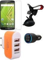 CELLMATE Tempered Glass Screen Guard Car Charger Mobile Holder Charger For Motorola Moto Xplay Accessory Combo (Multicolor)