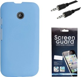KolorEdge Back Cover, Screen Guard and 3.5MM Auxliary Cable For Motorola Moto E (2nd Gen) Combo Set