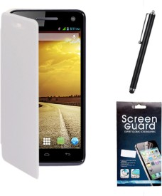 KolorEdge Flip Cover, Screen Guard and Stylus Pen for Micromax Canvas A120 Combo Set