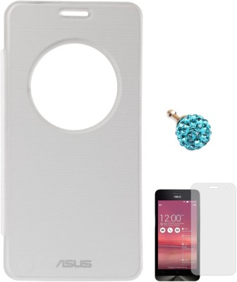 DMG Circle Window Flip Book Cover Case for Asus Zenfone 5 White, 3.5mm Dust Jack, Matte Screen Combo Set White available at Flipkart for Rs.499