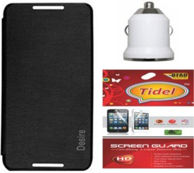Tidel Flip Cover For Htc Desire 516 With Usb Car Charger&Screen Guard Combo Set