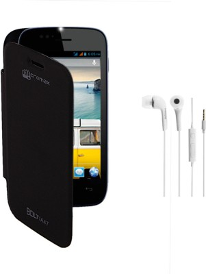 KolorEdge Flip Cover and Handfree for Micromax Bolt A47 Combo Set Black available at Flipkart for Rs.165