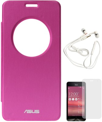 DMG Circle Window Flip Book Cover Case for Asus Zenfone 5 Magenta, White Earphones, Matte Screen Combo Set Pink available at Flipkart for Rs.899