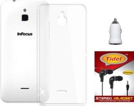 Tidel Silicon Soft Back Cover For InFocus M2 With 3.5mm Handsfree Earphone & Car Charger Adapter Combo Set