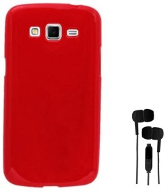 Chevron Premium Back Cover Case with 3.5mm Stereo Earphones for Samsung Galaxy Grand 2 (Red) Combo Set