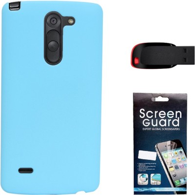 KolorEdge Back Cover + Screen Guard + 4GB Pen Drive For LG G3 Stylus - Sky Blue Combo Set