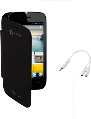 KolorEdge Flip Cover and Audio Splitter for Micromax Bolt A47 Combo Set Black available at Flipkart for Rs.140