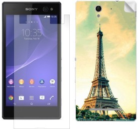 ezyPRNT Eiffel Tower Back skin sticker with screen guard combo for Sony Xperia C3 Dual Combo Set