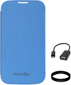 DMG Flip Cover for Samsung Galaxy S4 i9500 (Blue) with USB OTG Cable and Wristband Combo Set