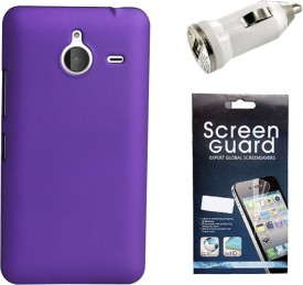 KolorEdge Back Cover, Screen Guard and Car Charger For Microsoft Lumia 640 XL Combo Set