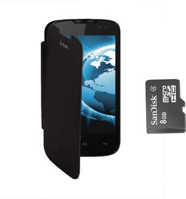 KolorEdge Flip Cover and SanDisk 8GB Memory Card for Lava iris 402 Combo Set Black