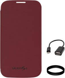 DMG Flip Cover for Samsung Galaxy S4 i9500 (Maroon) with USB OTG Cable and Wristband Combo Set