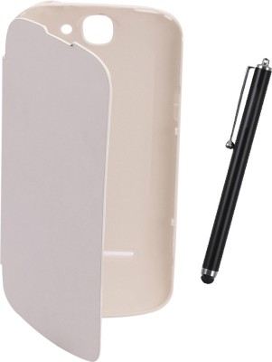 KolorEdge Flip Cover plus Stylus for LAVA Iris 458Q  White Combo Set White available at Flipkart for Rs.429