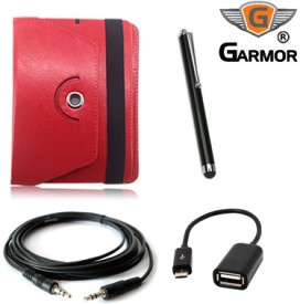 Garmor 268 Combo of 360 Rotation Flip, Stylus Pen, OTG Cable & AUX Cable for HCL ME Connect 2G 2.0 Tablet Combo Set