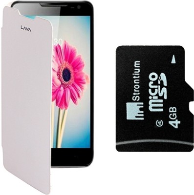 KolorEdge Cover for Lava iris 504Q with Stontium 4GB Memory Card Combo Set White