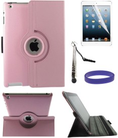 DMG Full 360 Rotating Stand Cover Case for Apple iPad 2/3/4 with Matte Screen, Stylus & Wristband Combo Set