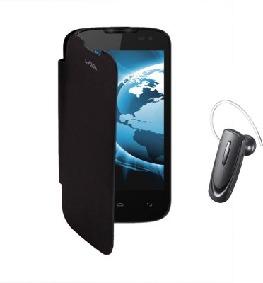 KolorEdge Flip Cover and Samsung HM1100 Tooth Headset for Lava iris 402 Combo Set Black