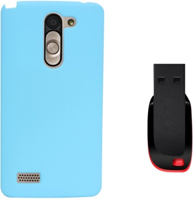 KolorEdge Back Cover + 4GB Pen Drive For LG L Bello - Sky Blue Combo Set