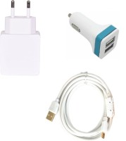 ROBMOB High Quality 1.0 Amp USB Charger+ Fast Charging USB Cable+ 2 Jack USB Car Charger Compatible With InFocus M680 Accessory Combo (White)