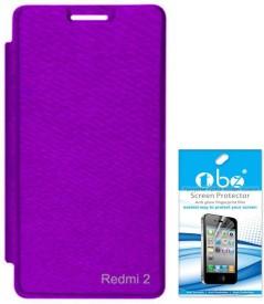 TBZ Flip Cover Case for Xiaomi Redmi 2 with Tempered Screen Guard Combo Set