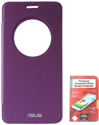 DMG Circle Window Flip Book Cover Case for Asus Zenfone 5 Purple With Tempered Glass Screen Combo Set Purple available at Flipkart for Rs.799