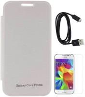 TBZ Flip Cover Case For Samsung Galaxy Core Prime With Screen Guard And Data Cable Combo Set (White)