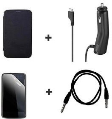 Callmate Combo of Flip Cover for Micromax Canvas HD A116, Car Charger, 3.5mm Aux Cable & Screen Guard Combo Set