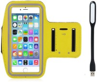Go Crazzy New Hot (4.7) Arm Band Workout Cover Sport Gym Case For Microsoft Lumia 550 With USB Led Light Accessory Combo (Yellow)