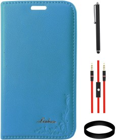 DMG Leather Flip Cover for Samsung Galaxy Core i8262 and AUX Cable and Stylus and Wristband Combo Set