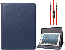 DMG Zippered Portfolio Cover Stand Case with Accessory Pockets for Nxi Ff7 and 3.5mm Flat AUX Cable with Mic Combo Set