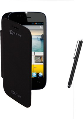 KolorEdge Flip Cover and Stylus Pen for Micromax Bolt A47 Combo Set Black available at Flipkart for Rs.165
