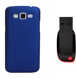 KolorEdge Back Cover + 8GB Pen Drive For Samsung Galaxy Grand 2 GT7106 - Dark Blue Combo Set