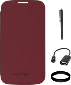 DMG Flip Cover for Samsung Galaxy S4 i9500 (Maroon) with USB OTG Cable and Stylus and Wristband Combo Set