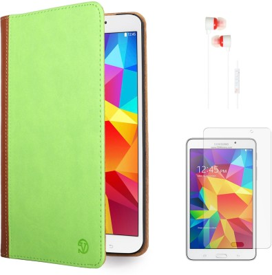 Vangoddy Mary Portfolio Multi Purpose Book Style Slim Flip Case for Samsung Galaxy Tab4 T330/T331 8.0 , White Earphones and Matte Screen Combo Set available at Flipkart for Rs.1499