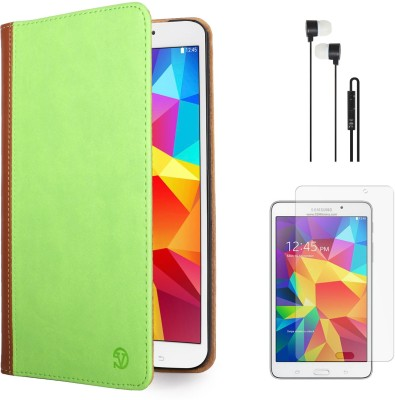 Vangoddy Mary Portfolio Multi Purpose Book Style Slim Flip Case for Samsung Galaxy Tab4 T330/T331 8.0 , Black Earphones and Matte Screen Combo Set available at Flipkart for Rs.1499