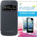 Evoque Flip Cover For Samsung Galaxy S4 Mini I9192/I9190 + Screen Guard Combo Set (Black)