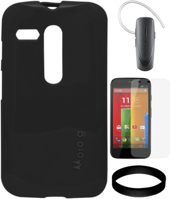 DMG Case for Motorola Moto G XT1032 with Samsung HM1100 Bluetooth and Screen Guard and Wristband Combo Set