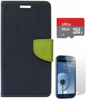 Dmg DMG Fancy Diary Flip Wallet Cover For Samsung Galaxy Grand I9082 (Pebble Blue), Matte Screen And 16GB Microsd Class 10 Combo Set