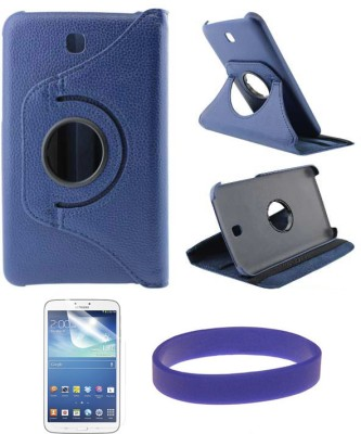 DMG Flip Book Back Cover Stand Case for Samsung Galaxy Tab 3 T211 with Matte Screen Protector Combo Set Blue