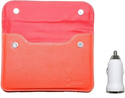 Chevron-Pouch-Cover-Case-For-Milagrow-M2-Pro-3G-16GB-Tablet-With-USB-Car-Charger-(Red)-Combo-Set